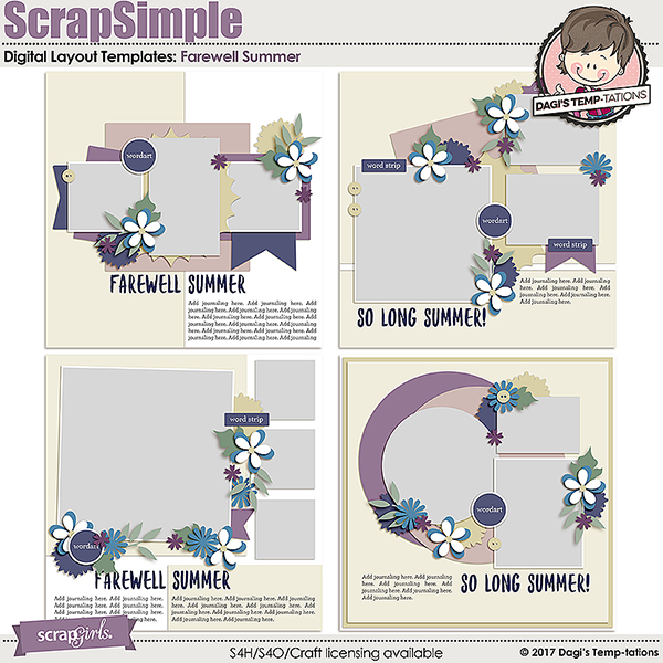 Scrapsimple digital layout templates farewell summer farewell summer digital scrapbook templates by dagis temp tations pronofoot35fo Image collections