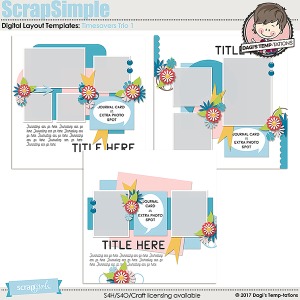 Timesavers Trio 1 Digital Scrapbook Templates by Dagi's Temp-tations