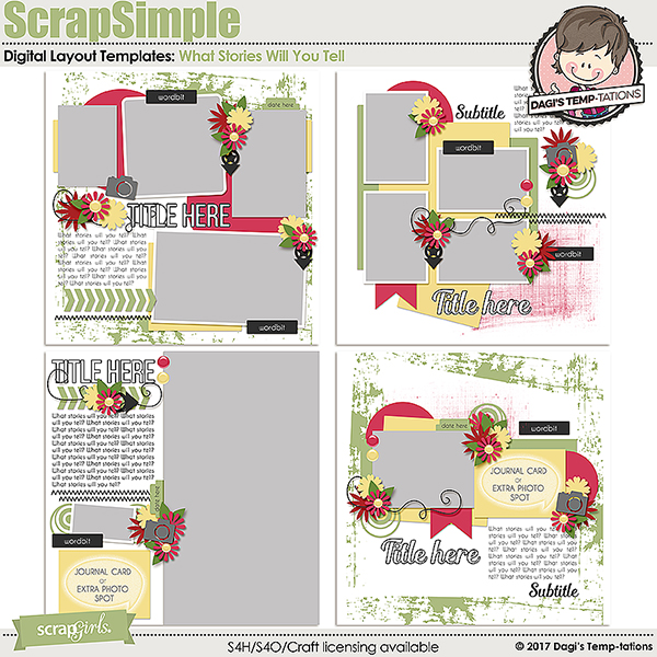 What Stories Will You Tell Digital Scrapbook Templates by Dagi's Temp-tations