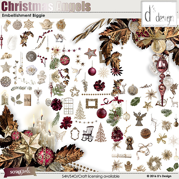 christmas angels embellishment by d's design