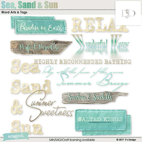 sea, sand & sun word arts & tags by d's design