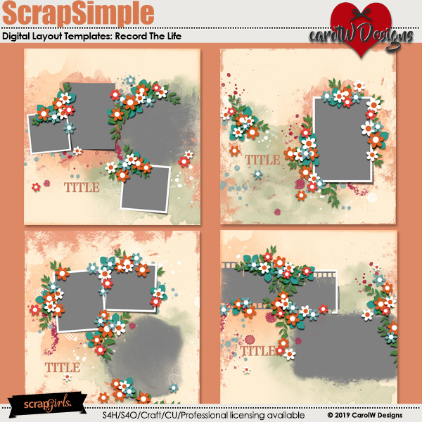 ScrapSimple Digital Layout Templates:Record The Life