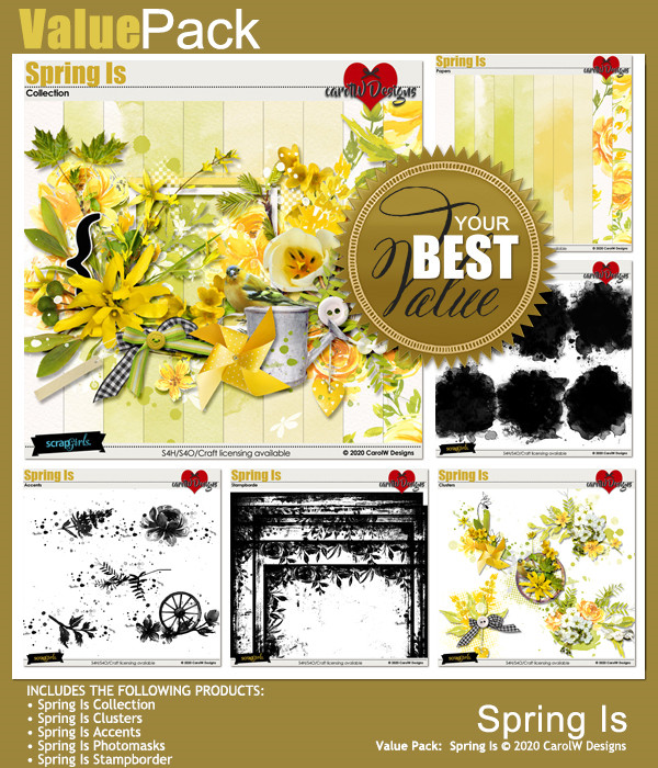 ScrapSimple Digital Layout Collection:Spring Is