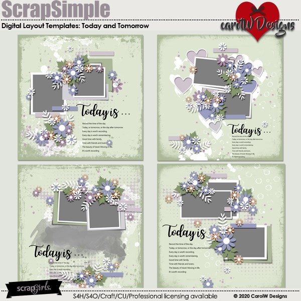 ScrapSimple Digital Layout Templates:today and tomorrow