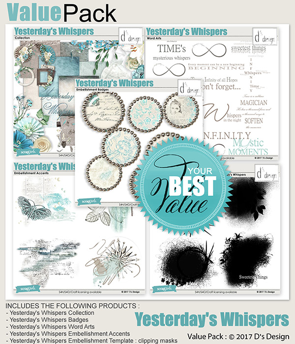 yesterday's whispers value pack by d's design