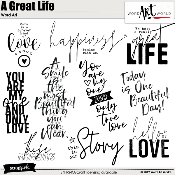 A Great Life Word Art