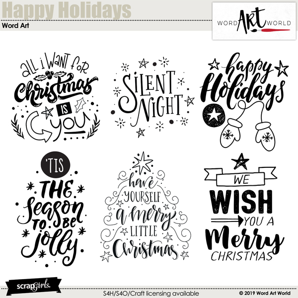 Happy Holidays Word Art by Word Art World