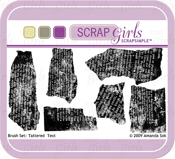 "Sold Separately <a href=""http://store.scrapgirls.com/brush-set-tattered-text-p16065.php"">Brush Set: Tattered Text</a>"
