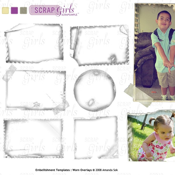 Sold Separately ScrapSimple Embellishment Templates: Worn Overlays (link to product below)
