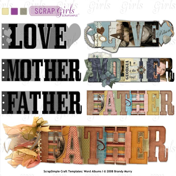 ScrapSimple Craft Templates: Word Albums I