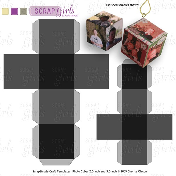 Scrapsimple Craft Templates Photo Cubes  Inch And  Inch