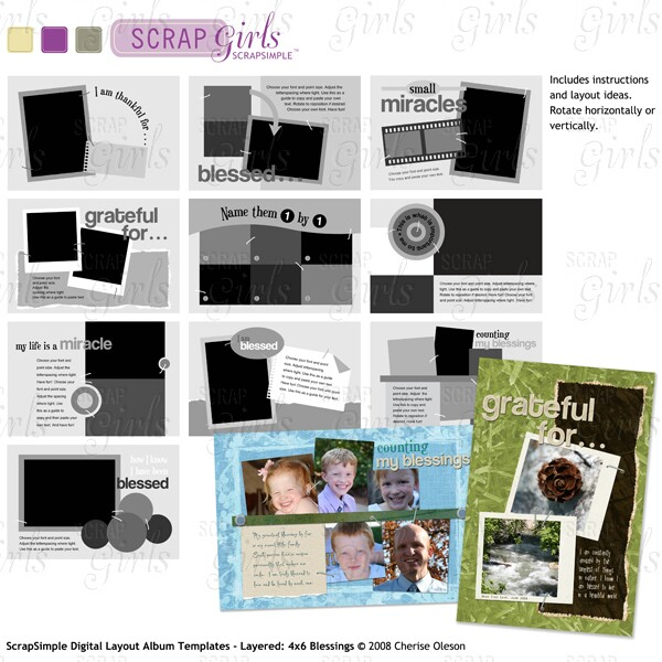 ScrapSimple Digital Layout Album Templates - Layered: 4x6 Blessings