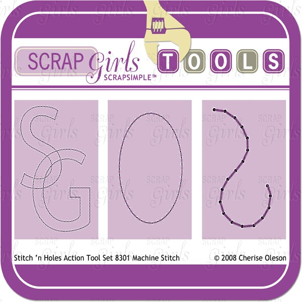 Also available: ScrapSimple Tools - Actions: Stitch 'n Holes 8301 Machine Stitch (sold separately)