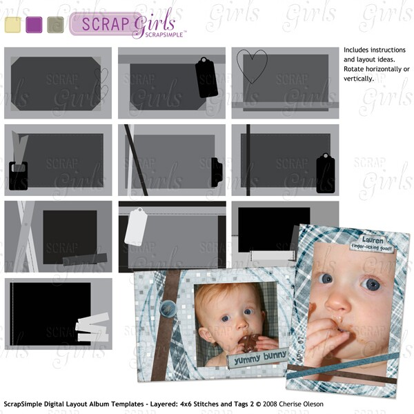 Also available: ScrapSimple Digital Layout Album Templates - Layered: 4x6 Stitches and Tags 2 - Commercial License (sold separately)