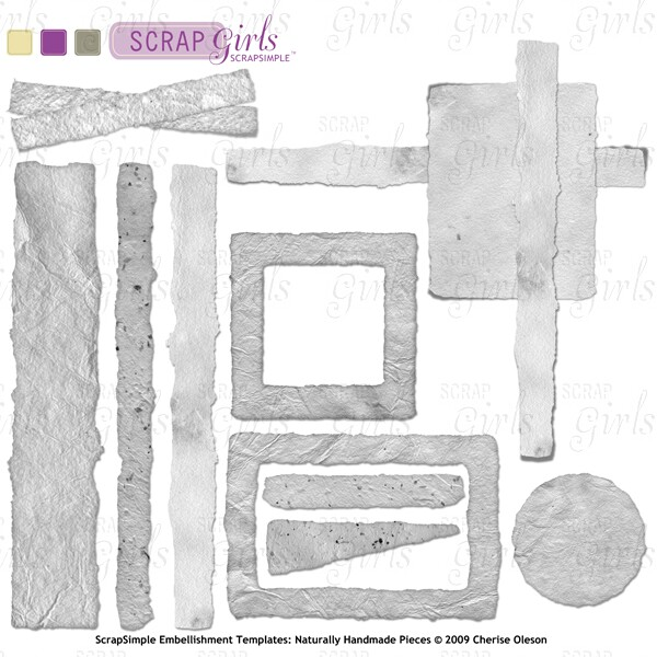 ScrapSimple Embellishment Templates: Naturally Handmade Pieces - Commercial License