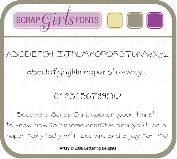 "Also Available: <a href=""http://store.scrapgirls.com/product/9110/"">Lettering Delight Artsy Font</a> (Sold Separately)"