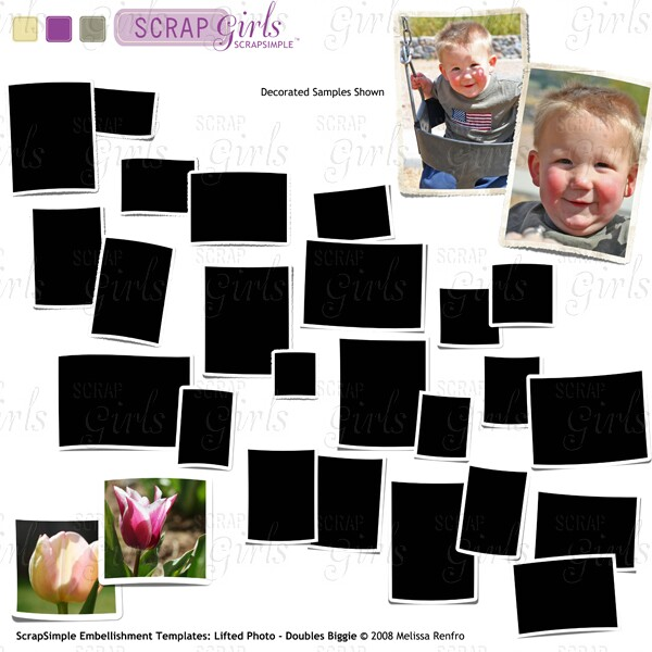 ScrapSimple Embellishment Templates: Lifted Photos - Doubles Biggie