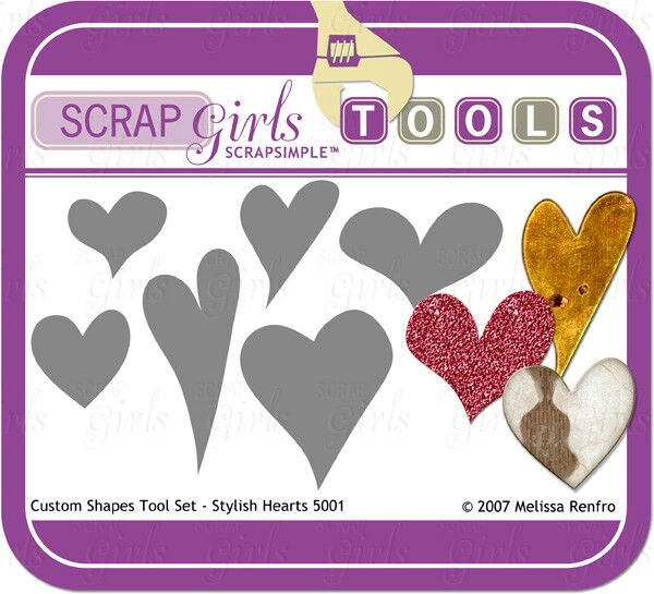 ScrapSimple Tools: Shapes - Stylish Hearts 5001 - Commercial License