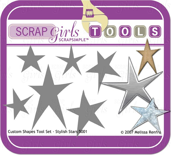 ScrapSimple Tools: Shapes - Stylish Stars 5001 - Commercial License