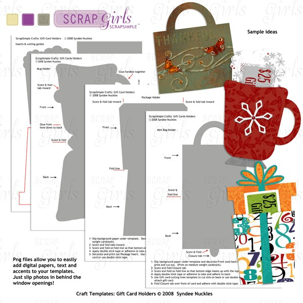 scrapsimple craft templates holiday gift card holders