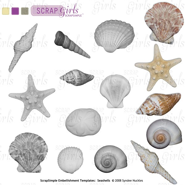 ScrapSimple Embellishment Templates: Seashells