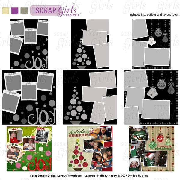 ScrapSimple Digital Layout Templates - Layered: Holiday Happy