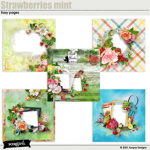Strawberries mint Easy pages