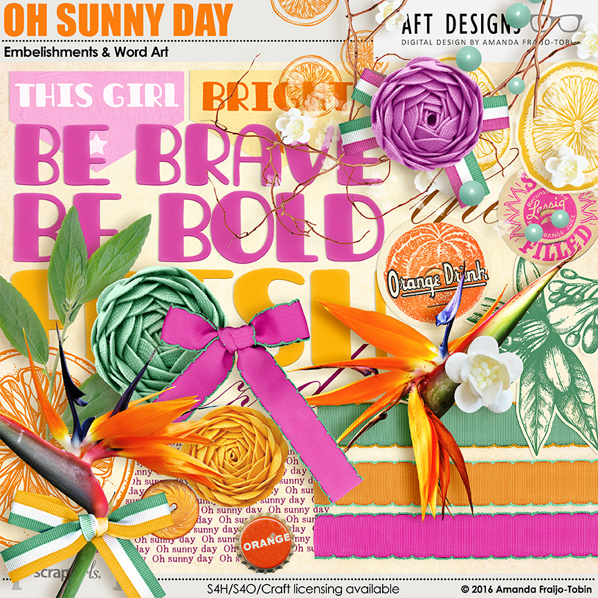 Oh Sunny Day.Digital Scrapbooking Oh Sunny Day Embellishments And Word