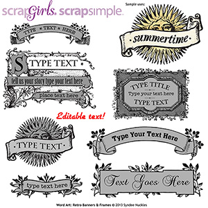 ScrapSimple Word Art Templates: Retro Banners and Frames