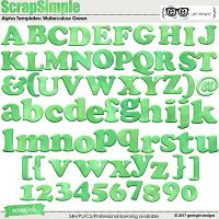 ScrapSimple Alpha Templates: Watercolour Green